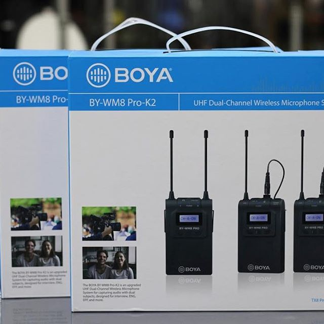 MICRO THU ÂM WIRELESS UHF BOYA BY-WM8 PRO-K2 (BỘ THU 2 MICRO)